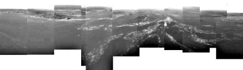 Photograph of Titan's surface.